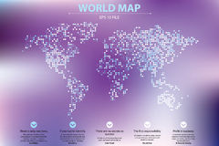 Dotted world map vector illustration. Business concept about world map global elements. Blue technology colors Royalty Free Stock Images