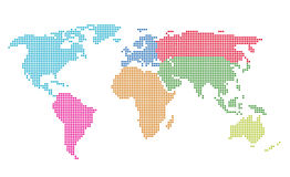 Dotted World Map. Vector illustration. Saved in EPS 8 file. All related elements are grouped separately. Well constructed for easy editing. Hi-res jpeg file Stock Illustration
