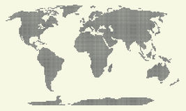 Dotted world map vector illustration, world map of round dots. Dotted world map on white background Vector Illustration