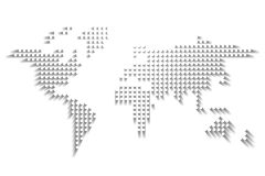 Dotted World map. White dots with dropped shadow on white background. Vector illustration.  vector illustration