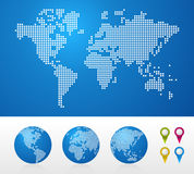 Dotted World maps and globes royalty free illustration