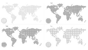 Dotted world maps Stock Photo