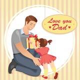 Dottern ger en gåva till hennes fader royaltyfri illustrationer