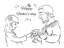 Dottern ger ett kort till hennes fader stock illustrationer