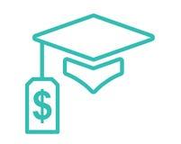 Dottorando Loan Icon - studente Loan Graphics per l'aiuto economico o assistenza di istruzione, prestiti di Stato e debito Immagini Stock