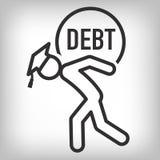 Dottorando Loan Icon - studente Loan Graphics per l'aiuto economico o assistenza di istruzione, prestiti di Stato e debito Fotografie Stock