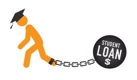 Dottorando Loan Icon - studente Loan Graphics per l'aiuto economico o assistenza di istruzione, prestiti di Stato e debito illustrazione di stock