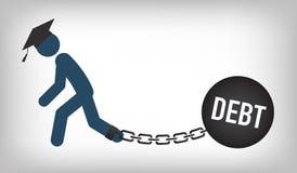 Dottorando Loan Icon - studente Loan Graphics per l'aiuto economico o assistenza di istruzione, prestiti di Stato e debito Fotografia Stock Libera da Diritti