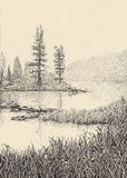 Dotwork drawing. Morning mist over the lake Stock Image