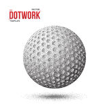 Dotwork Golf Sport Ball made in Halftone Style Stock Photography