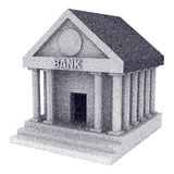 Dotwork Halftone Vector Bank Building. Dotwork Halftone 3D Bank Building. Engraving Vector Illustration. Finance and credit concept Royalty Free Stock Photography
