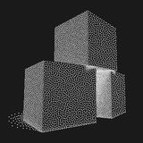 Dotwork Halftone Vector Boxes. Royalty Free Stock Image