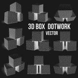 Dotwork Halftone Vector Boxes Set. Engraving Vector Illustration. Transportation Cargo Dotwork Concept stock illustration