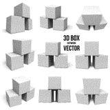 Dotwork Halftone Vector Boxes Set. Engraving Vector Illustration. Transportation Cargo Dotwork Concept Isolated on White royalty free illustration