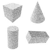 Dotwork Halftone Vector Parallelepiped Icon Stock Photo
