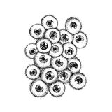Dotwork Human Eyeballs. Vector Illustration of Scary Eyes Concept. Tattoo Hand Drawn Sketch Stock Photography