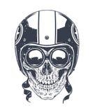 Dotwork Rider Skull. Dotwork styled rider skull with retro glasses and helmet. Vector art Stock Images