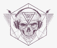Dotwork Skull Art Stock Photo