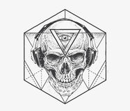 Dotwork Skull Art Royalty Free Stock Photo