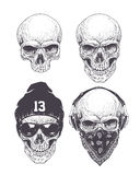 Dotwork Skulls Set Royalty Free Stock Photography