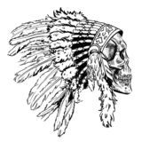 Dotwork style skull with indian feather hat. Grunge vector art. Royalty Free Stock Photo