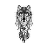 Dotwork-Tätowierungsdesign stilisierte Wolfgesicht mit Traumfänger han Stockfoto