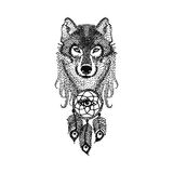 Dotwork tattoo design stylized Wolf face with dream catcher. Han Stock Photo