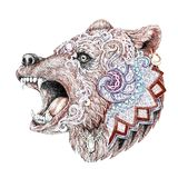 Dotwork, tattoo, head enraged bear Royalty Free Stock Photos