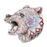 Dotwork, tattoo, head enraged bear Royalty Free Stock Photos