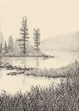 Dotwork teckning Morgonmist över sjön Fotografering för Bildbyråer