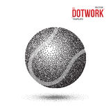 Dotwork-Tennis-Sport-Ball gemacht in der Halbtonart Stockfotografie