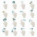 Dotyków gesty i ręk ikony Zdjęcia Royalty Free