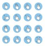 Dotyk gestykuluje ikony Obrazy Stock
