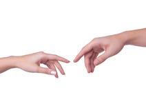 Dotyk ręki Zdjęcia Stock