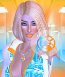 Dotyka ekranu futurystyczna biznesowa kobieta Obraz Stock