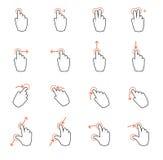 Dotyka ekranu gesta ręki znaki royalty ilustracja