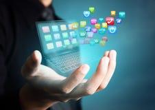 Dotyka ekranu laptop z kolorowymi podaniowymi ikonami Obraz Royalty Free