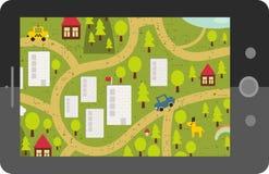 Dotyka ekranu pastylki gps z kreskówki mapą. ilustracja wektor