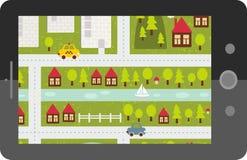 Dotyka ekranu pastylki gps z kreskówki mapą. royalty ilustracja