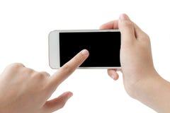 Dotyka ekranu telefon komórkowy w ręce na białym tle Fotografia Royalty Free