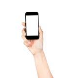 Dotyka ekranu telefon komórkowy w ręce, Zdjęcia Stock