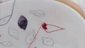 Dotyka embroideres obrazek Obraz Royalty Free