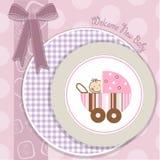 Doua cercuri 12. Baby girl announcement card with stroller Stock Photos