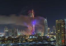 Doubai Burj Khalifa New Year 2016 vuurwerk Stock Foto