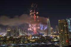 Doubai Burj Khalifa New Year 2016 vuurwerk Stock Foto's