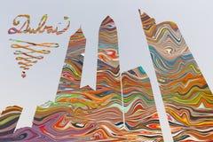 Doubai - de Illustratie en pohtomontering van wolkenkrabbers op de kleuren volledige achtergrond Royalty-vrije Stock Foto
