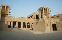 Doubai. Het museum van Al Maktoum van sjeikSaeed en zijn windtowers. Stock Foto's