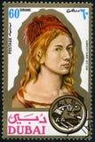 DOUBAI - 1971: toont Albrecht Durer 1471-1528, schilder, printmaker, portretten royalty-vrije stock foto