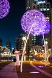 Doubai, Verenigde Arabische Emiraten - 18 Mei, 2018: Meisje die van nacht genieten stock afbeeldingen
