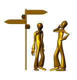 Doubious and exhaust in front of signals. Two 3d golden characters in front of signals isolated on a white background vector illustration